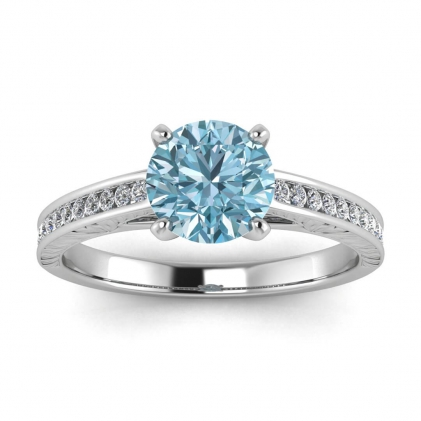 14k White Gold Aleah Vintage Engraved Channel Aquamarine and Diamond Ring (1/9 CT. TW.)