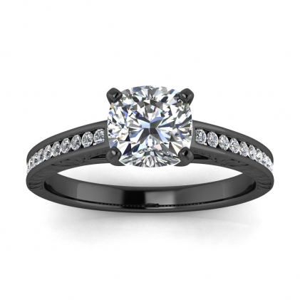 14k Black Gold Aleah Vintage Engraved Channel Cushion Cut Diamond Ring (1/9 CT. TW.)