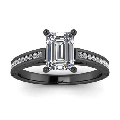 14k Black Gold Aleah Vintage Engraved Channel Emerald Cut Diamond Ring (1/9 CT. TW.)