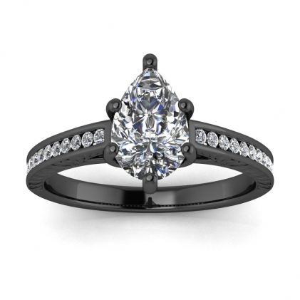14k Black Gold Aleah Vintage Engraved Channel Pear Shaped Diamond Ring (1/9 CT. TW.)