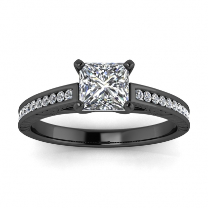 14k Black Gold Aleah Vintage Engraved Channel Princess Cut Diamond Ring (1/9 CT. TW.)