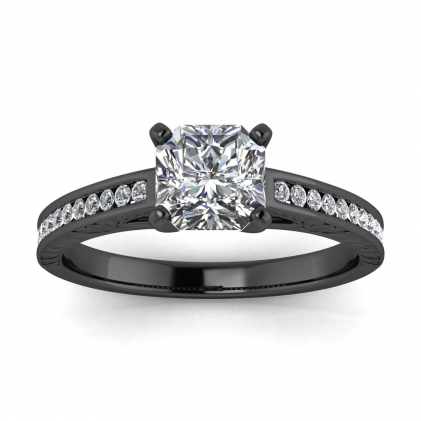 14k Black Gold Aleah Vintage Engraved Channel Radiant Cut Diamond Ring (1/9 CT. TW.)