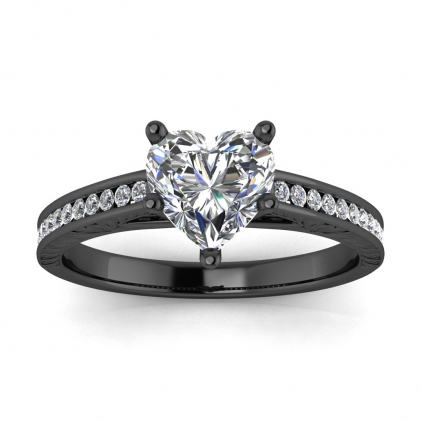 14k Black Gold Aleah Vintage Engraved Channel Heart Shaped Diamond Ring (1/9 CT. TW.)