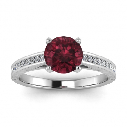 14k White Gold Aleah Vintage Engraved Channel Garnet and Diamond Ring (1/9 CT. TW.)