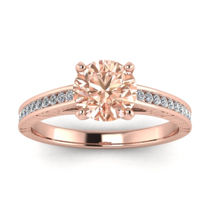 14k Rose Gold Aleah Vintage Engraved Channel Morganite and Diamond Ring (1/9 CT. TW.)