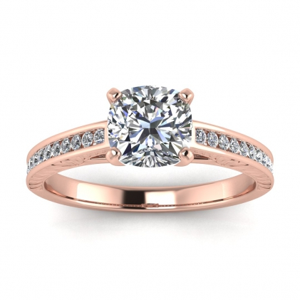 14k Rose Gold Aleah Vintage Engraved Channel Cushion Cut Diamond Ring (1/9 CT. TW.)