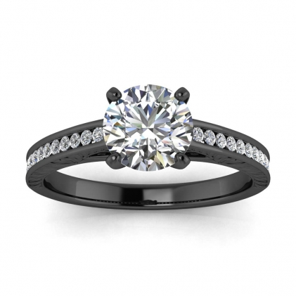 14k Black Gold Aleah Vintage Engraved Channel Diamond Ring (1/9 CT. TW.)