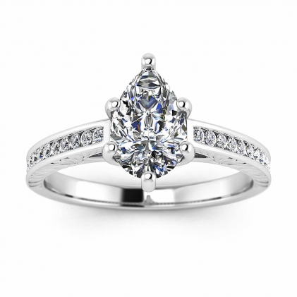 14k White Gold Aleah Vintage Engraved Channel Pear Shaped Diamond Ring (1/9 CT. TW.)