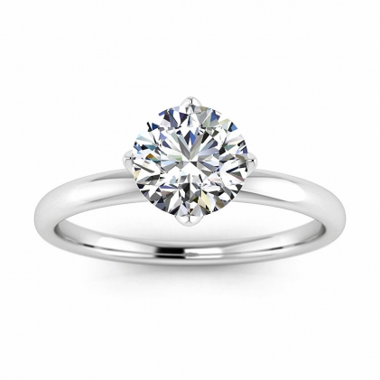 14k White Gold Ellis Solitaire Diamond Flower Ring