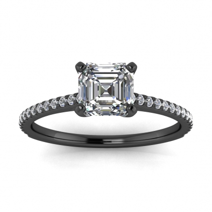 14k Black Gold Anahi Micro Pave Asscher Cut Diamond Engagement Ring (1/6 CT. TW.)