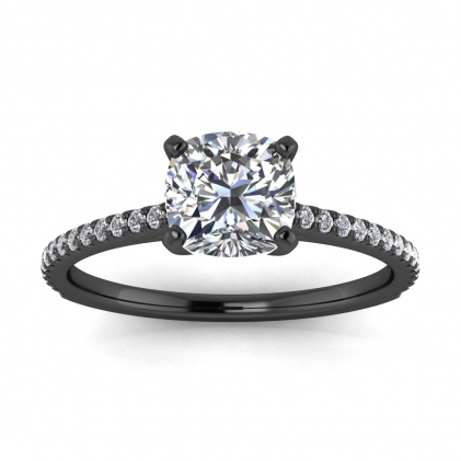 14k Black Gold Anahi Micro Pave Cushion Cut Diamond Engagement Ring (1/6 CT. TW.)