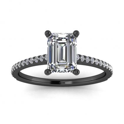 14k Black Gold Anahi Micro Pave Emerald Cut Diamond Engagement Ring (1/6 CT. TW.)