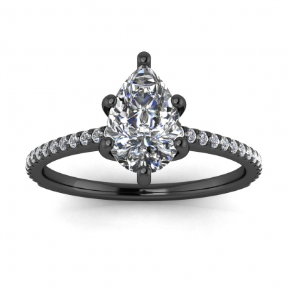 14k Black Gold Anahi Micro Pave Pear Shaped Diamond Engagement Ring (1/6 CT. TW.)