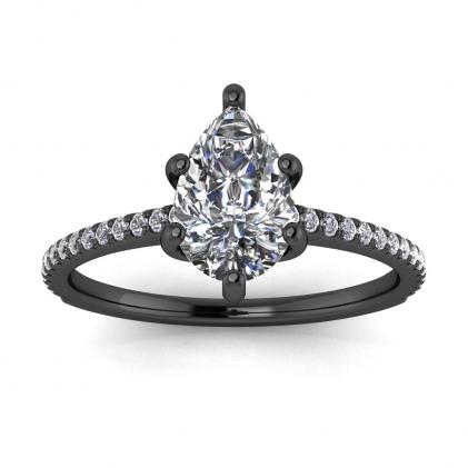 14k Black Gold Anahi Micro Pave Pear Shaped Diamond Engagement Ring (1/6 CT. TW.)