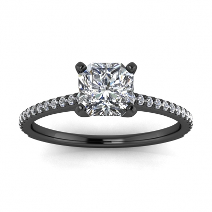 14k Black Gold Anahi Micro Pave Radiant Cut Diamond Engagement Ring (1/6 CT. TW.)