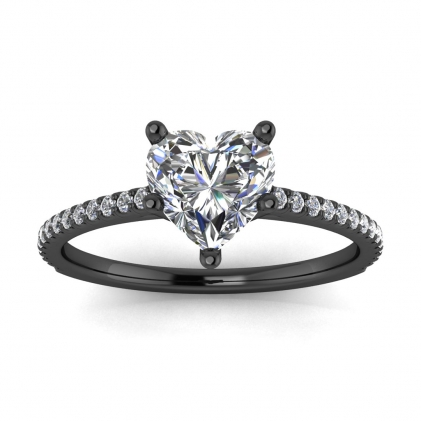 14k Black Gold Anahi Micro Pave Heart Shaped Diamond Engagement Ring (1/6 CT. TW.)