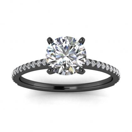 14k Black Gold Anahi Micro Pave Diamond Engagement Ring (1/6 CT. TW.)