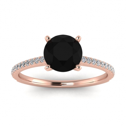 14k Rose Gold Anahi Micro Pave Black Diamond and Diamond Engagement Ring (1/6 CT. TW.)