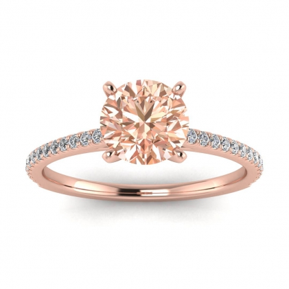 14k Rose Gold Anahi Micro Pave Morganite and Diamond Engagement Ring (1/6 CT. TW.)