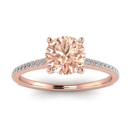 14k Rose Gold Anahi Micro Pave Morganite and Diamond Engagement Ring (1/6 CT. TW.)