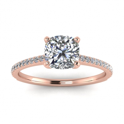 14k Rose Gold Anahi Micro Pave Cushion Cut Diamond Engagement Ring (1/6 CT. TW.)