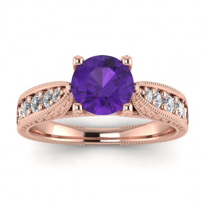 14k Rose Gold Elke Vintage Floral Engraving Amethyst and Diamond Ring (1/3 CT. TW.)
