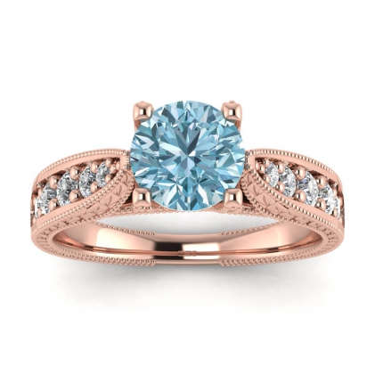 14k Rose Gold Elke Vintage Floral Engraving Aquamarine and Diamond Ring (1/3 CT. TW.)