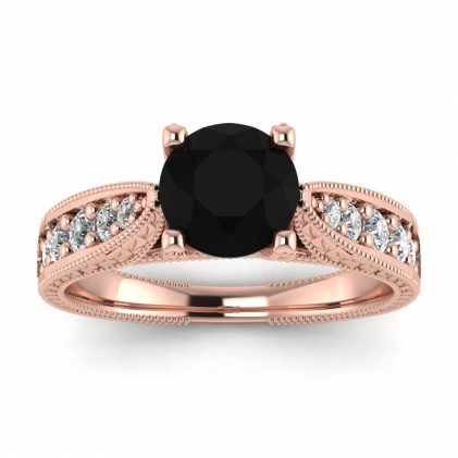 14k Rose Gold Elke Vintage Floral Engraving Black Diamond and Diamond Ring (1/3 CT. TW.)
