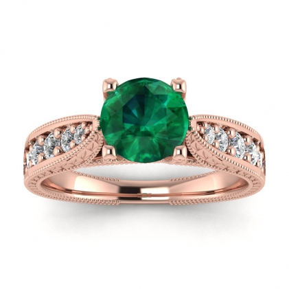 14k Rose Gold Elke Vintage Floral Engraving Emerald and Diamond Ring (1/3 CT. TW.)