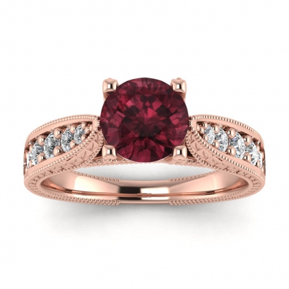 14k Rose Gold Elke Vintage Floral Engraving Garnet and Diamond Ring (1/3 CT. TW.)
