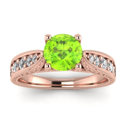 14k Rose Gold Elke Vintage Floral Engraving Peridot and Diamond Ring (1/3 CT. TW.)