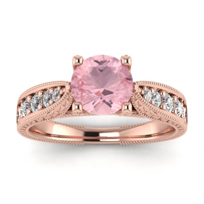 14k Rose Gold Elke Vintage Floral Engraving Rose Quartz and Diamond Ring (1/3 CT. TW.)