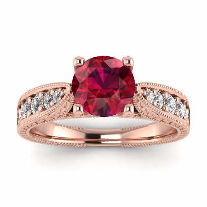 14k Rose Gold Elke Vintage Floral Engraving Ruby and Diamond Ring (1/3 CT. TW.)