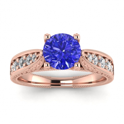 14k Rose Gold Elke Vintage Floral Engraving Sapphire and Diamond Ring (1/3 CT. TW.)