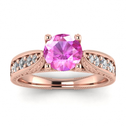 14k Rose Gold Elke Vintage Floral Engraving Pink Sapphire and Diamond Ring (1/3 CT. TW.)