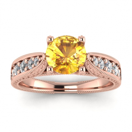14k Rose Gold Elke Vintage Floral Engraving Yellow Sapphire and Diamond Ring (1/3 CT. TW.)