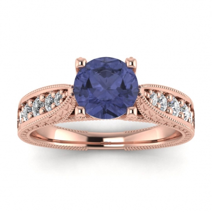14k Rose Gold Elke Vintage Floral Engraving Tanzanite and Diamond Ring (1/3 CT. TW.)