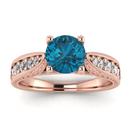 14k Rose Gold Elke Vintage Floral Engraving Blue Topaz and Diamond Ring (1/3 CT. TW.)