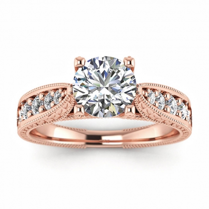 14k Rose Gold Elke Vintage Floral Engraving Diamond Ring (1/3 CT. TW.)