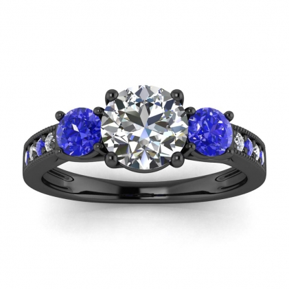 14k Black Gold Dawn Paved Milgrain 3 Diamond and Sapphire Ring