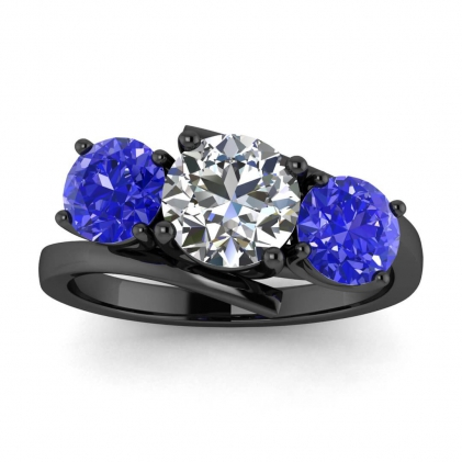 14k Black Gold Doreen Offset 3 Stone Diamond and Sapphire Ring