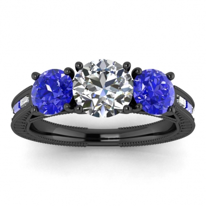 14k Black Gold Capri 3 Stone Diamond and Sapphire Baguette Engagement Ring