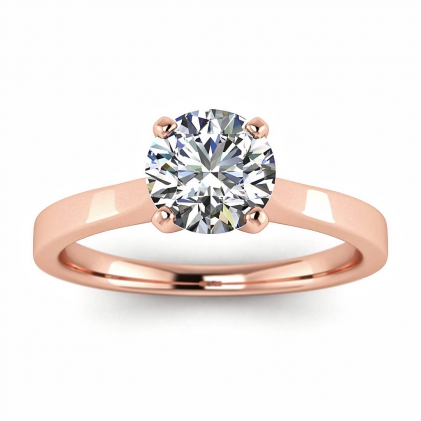 14k Rose Gold Shiny Everleigh Squared Band Ring