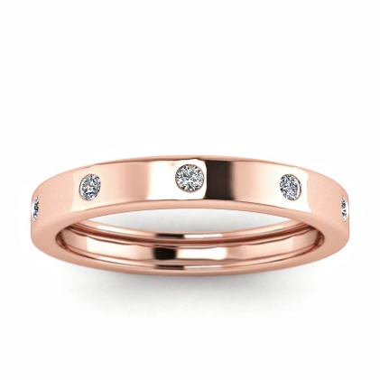 14k Rose Gold Avila Flush Set Diamond Squared Band (1/6 CT. TW.)