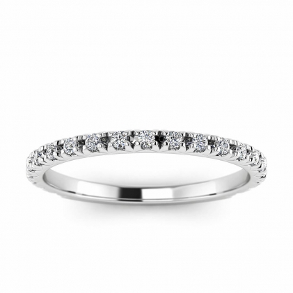14k White Gold Allore French Pave Diamond Band (1/5 CT. TW.)
