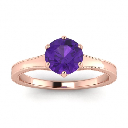 14k Rose Gold Corinne Milgrained Amethyst Engagement Ring