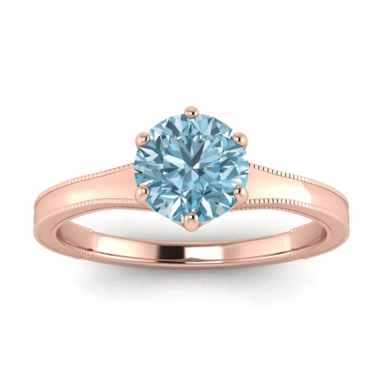 14k Rose Gold Corinne Milgrained Aquamarine Engagement Ring