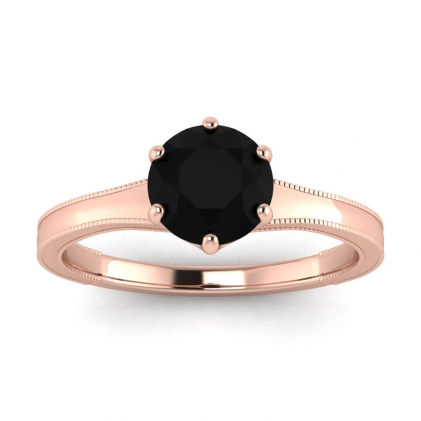 14k Rose Gold Corinne Milgrained Black Diamond Engagement Ring