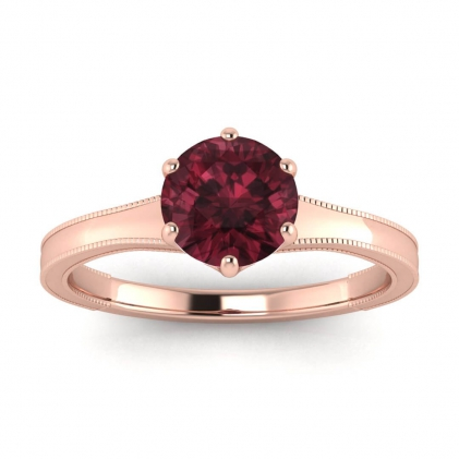 14k Rose Gold Corinne Milgrained Garnet Engagement Ring