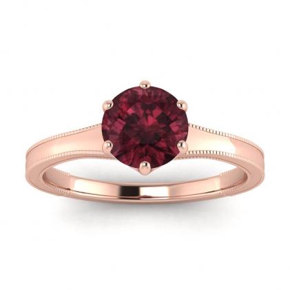 14k Rose Gold Corinne Milgrained Garnet Engagement Ring